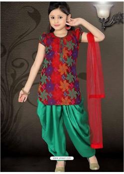 Girl's Incredible Green color Art Silk Readymade Salwar Kameez