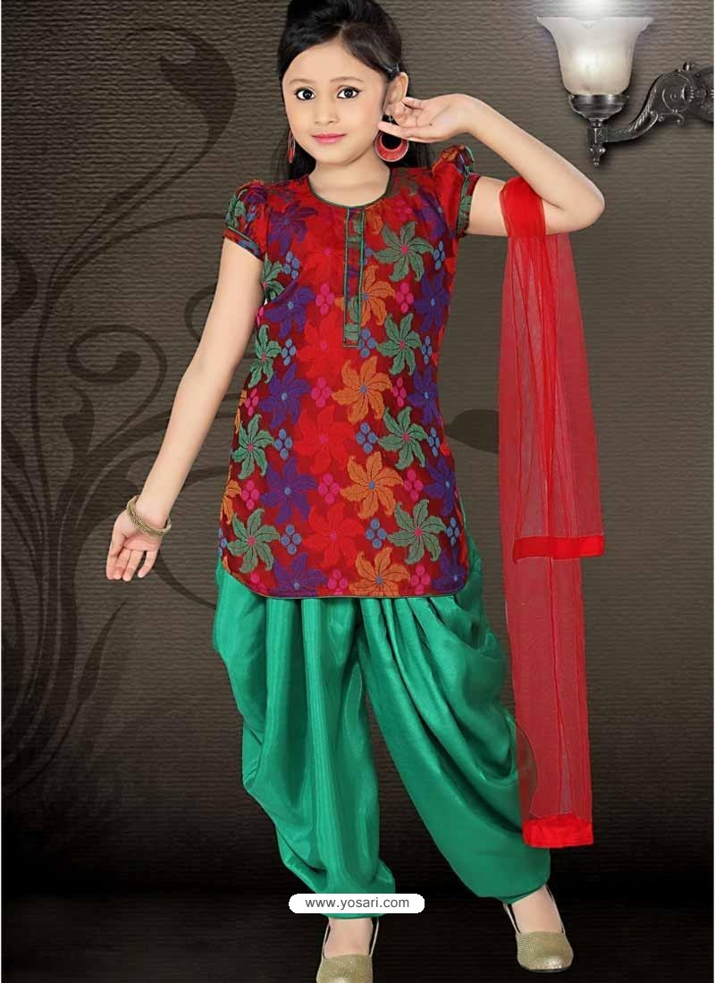 16ee171d9 Girl s Incredible Green color Art Silk Readymade Salwar Kameez in ...