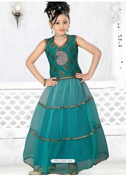 Girls Incredible Green Art Silk in Embroidered Readymade Salwar Kameez