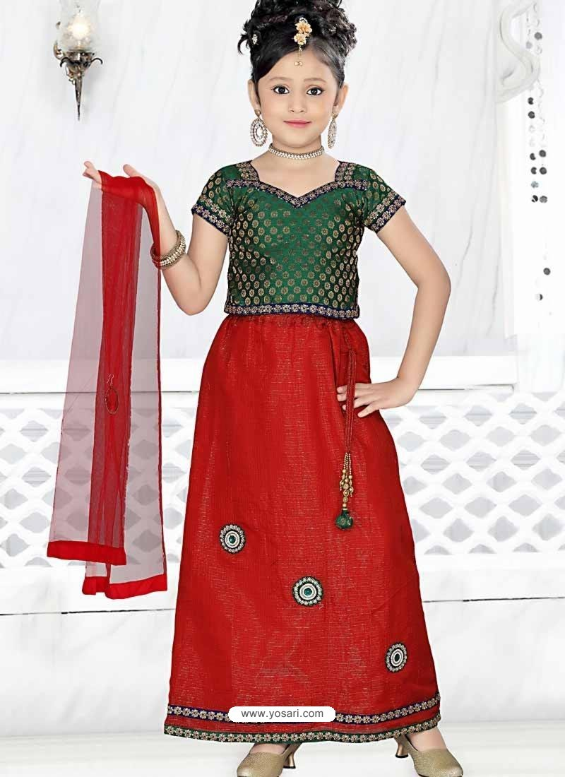 Girl's Incredible Red color Art Silk Readymade Salwar Kameez