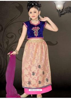 Girl's Incredible Beige Art Silk in Embroidered Readymade Salwar Kameez