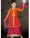 Girls Red color Art Silk Incredible Readymade Salwar Kameez