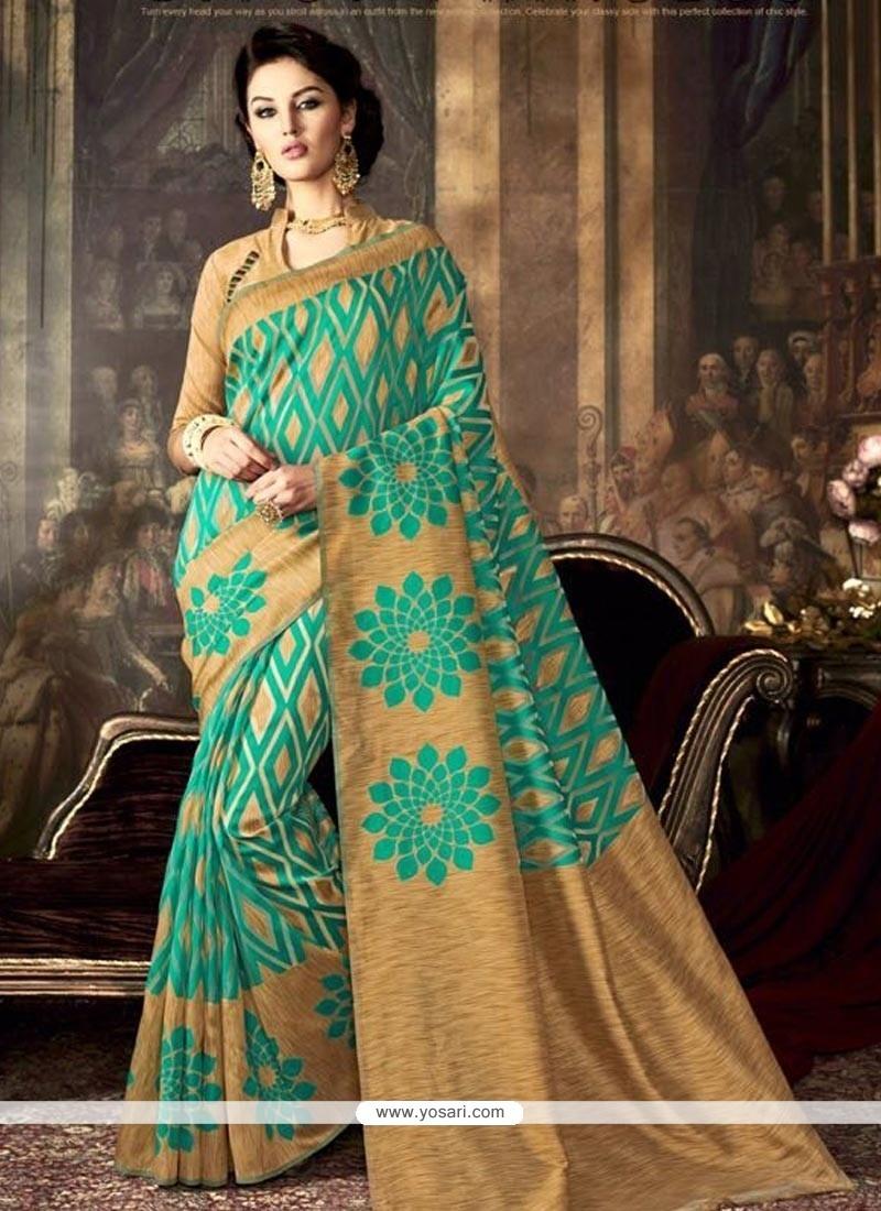 Exquisite Sea Green Art Silk Traditional Saree