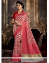 Suave Rose Pink Weaving Work Traditional Saree