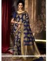 Miraculous Art Silk Navy Blue Weaving Work Traditional Saree
