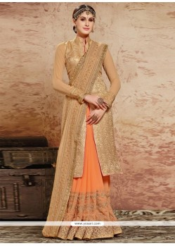 Exquisite Beige And Orange Embroidered Work Fancy Fabric Designer Half N Half Saree
