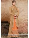 Exquisite Beige And Orange Embroidered Work Fancy Fabric Designer Half N Half Saree
