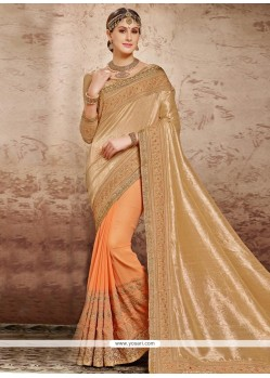 Orphic Georgette Beige And Orange Patch Border Work Designer Half N Half Saree