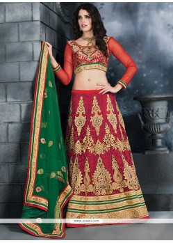 Beige And Red Net Lehenga Choli