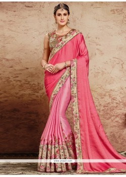 Auspicious Pink Embroidered Work Satin Classic Designer Saree