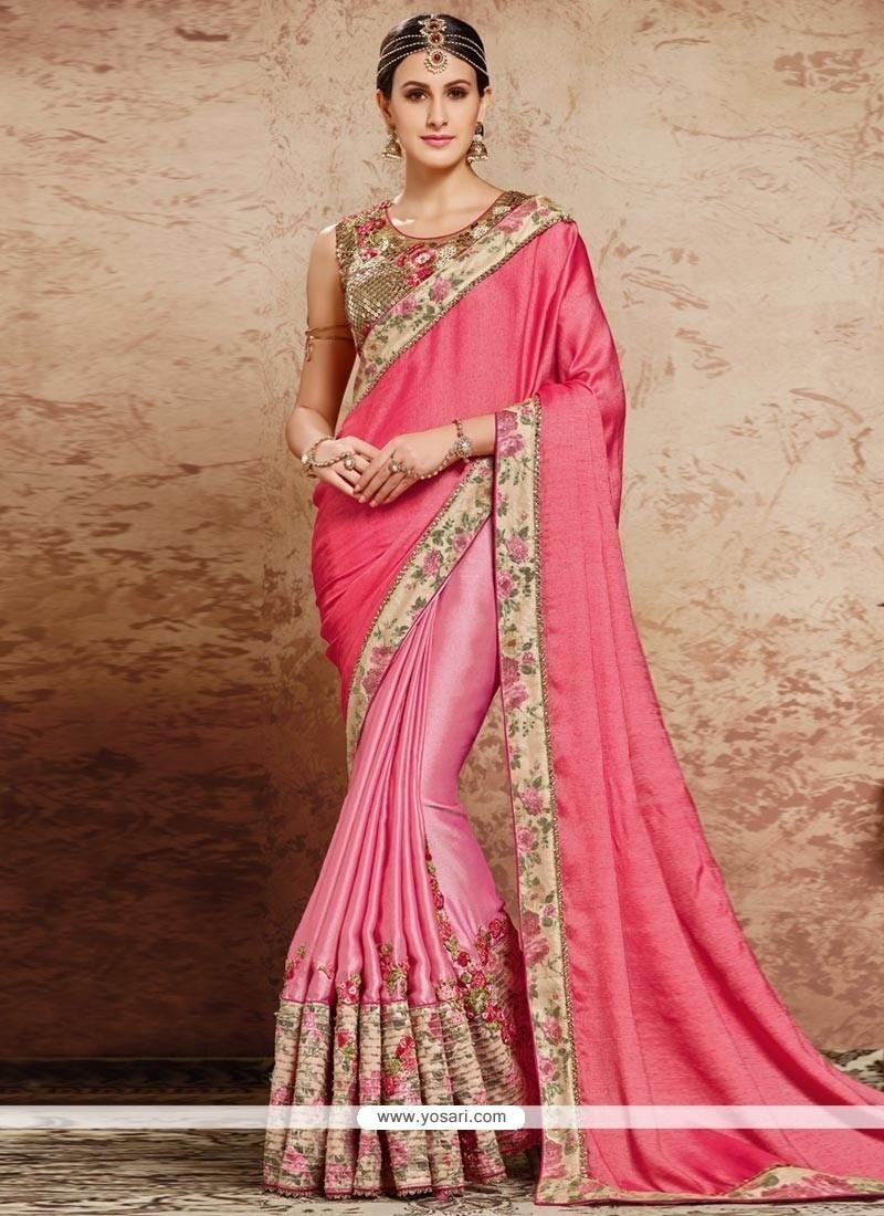 Auspicious Pink Embroidered Work Satin Classic Designer Saree
