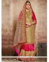 Staggering Hot Pink Net Designer Half N Half Saree