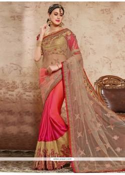 Prime Hot Pink Designer Half N Half Saree