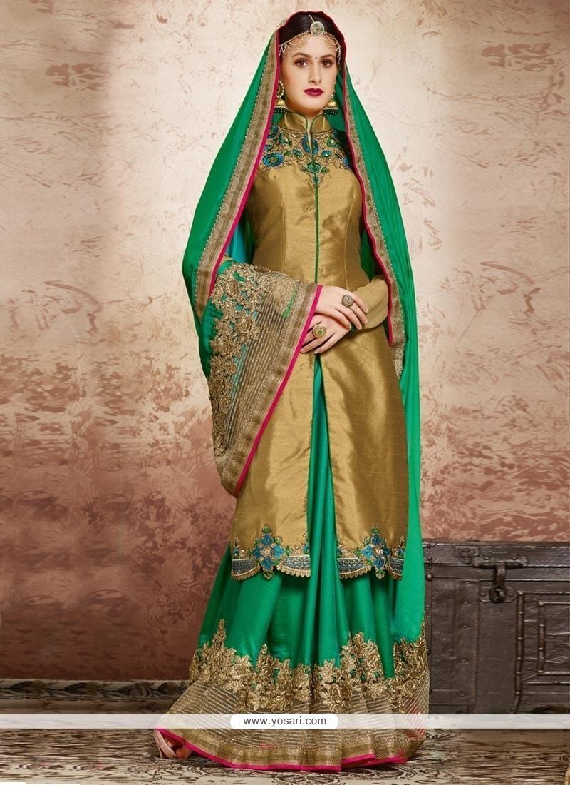 Phenomenal Satin Sea Green Resham Work Classic Designer Saree