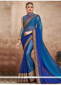Prodigious Embroidered Work Blue Classic Designer Saree
