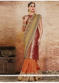 Modern Beige And Orange Resham Work Designer Half N Half Saree