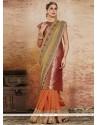 Modern Beige And Orange Resham Work Designer Half N Half Saree