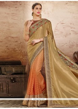 Sensational Patch Border Work Beige And Orange Designer Half N Half Saree