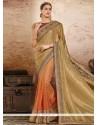 Sensational Patch Border Work Beige And Orange Designer Half N Half Saree