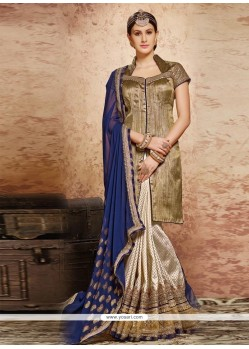 Scintillating Viscose Beige And Navy Blue Classic Designer Saree