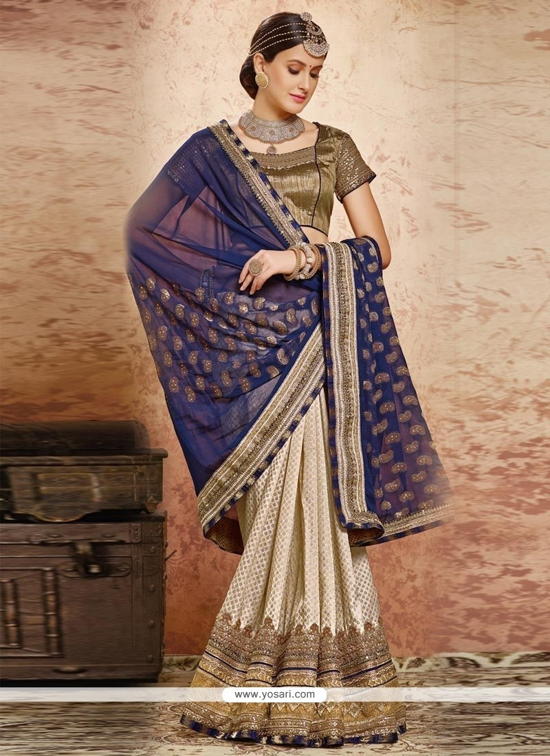 Eye-catchy Beige And Navy Blue Embroidered Work Viscose Classic Designer Saree