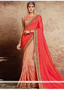 Striking Pink Patch Border Work Georgette Classic Designer Saree