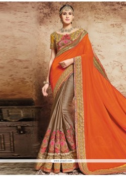 Ruritanian Satin Beige And Orange Designer Half N Half Saree