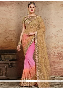 Intrinsic Orange And Pink Resham Work Georgette Designer Half N Half Saree