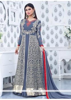 Mouni Roy Patch Border Work Faux Georgette Designer Floor Length Suit
