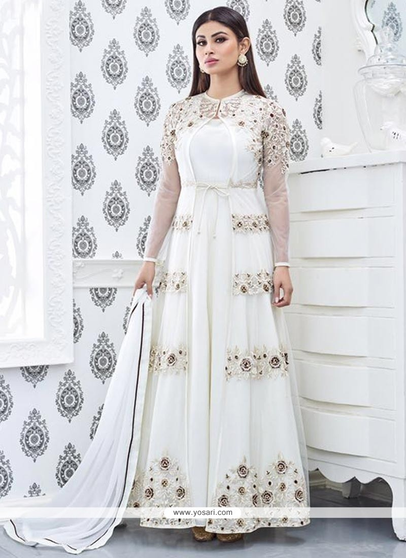 Buy Mouni Roy Embroidered Work Off White Designer Floor Length Suit