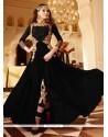 Prime Faux Georgette Black Embroidered Work Designer Floor Length Suit