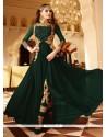 Astonishing Faux Georgette Green Designer Floor Length Suit