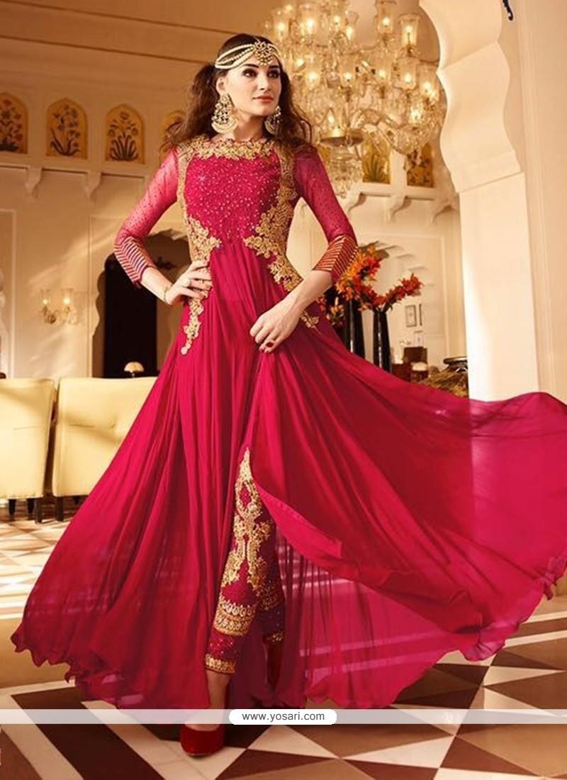 Hot Pink Faux Georgette Designer Floor Length Suit