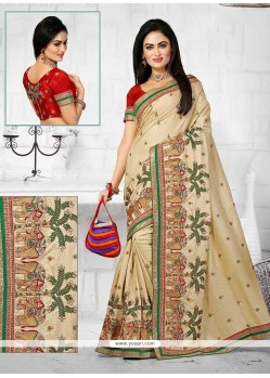 Sophisticated Manipuri Silk Resham Work Designer Traditional Saree