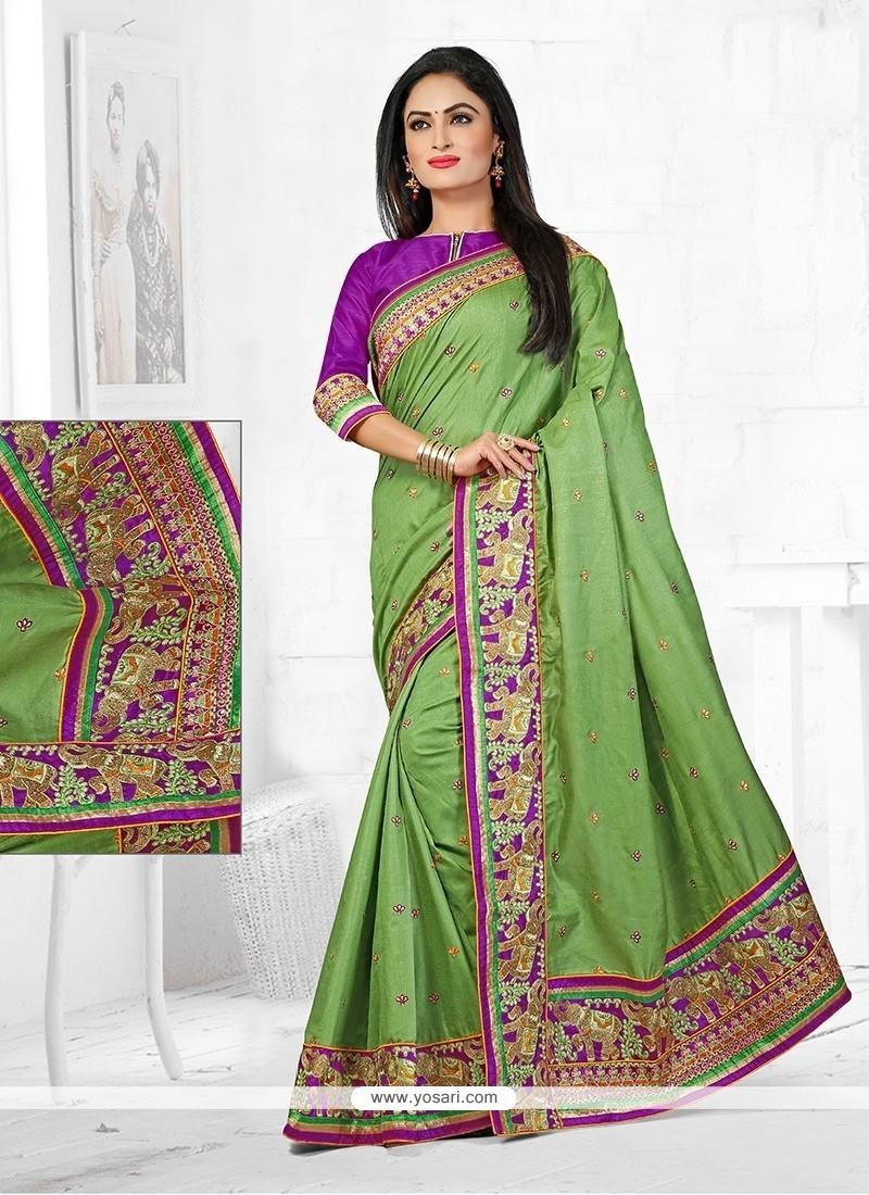 Demure Manipuri Silk Resham Work Designer Traditional Saree