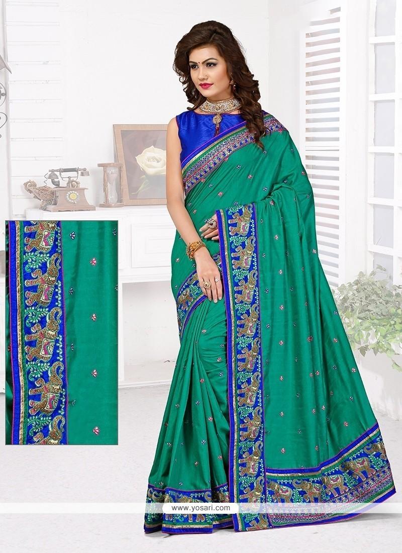 Elegant Sea Green Zari Work Designer Traditional Saree