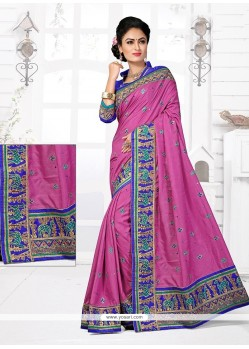 Astounding Manipuri Silk Pink Designer Traditional Saree