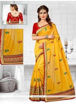 Specialised Chanderi Yellow Zari Work Designer Traditional Saree