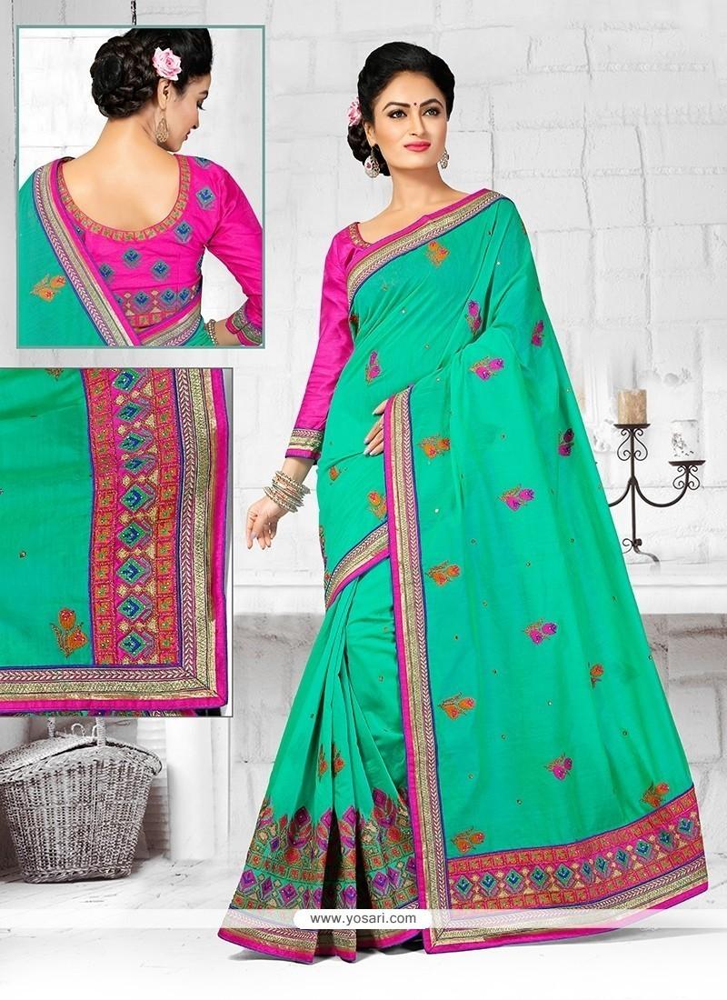 Enthralling Chanderi Turquoise Designer Traditional Saree