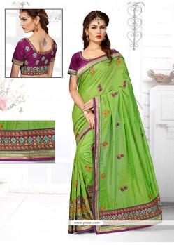 Specialised Chanderi Green Zari Work Designer Traditional Saree