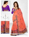 Grandiose Chanderi Orange Resham Work Designer Traditional Saree