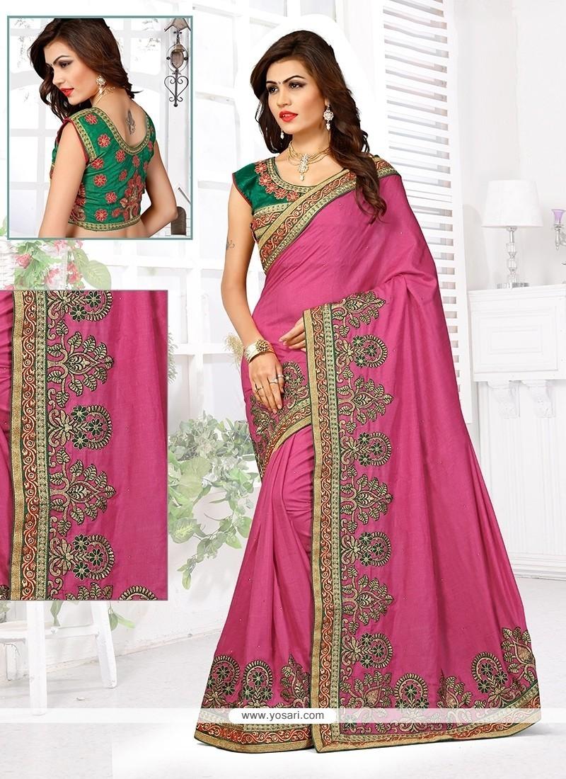 Perfervid Manipuri Silk Hot Pink Designer Traditional Saree