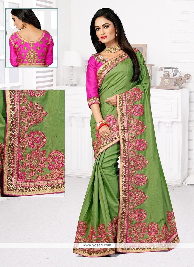 Customary Green Stone Work Designer Traditional Saree