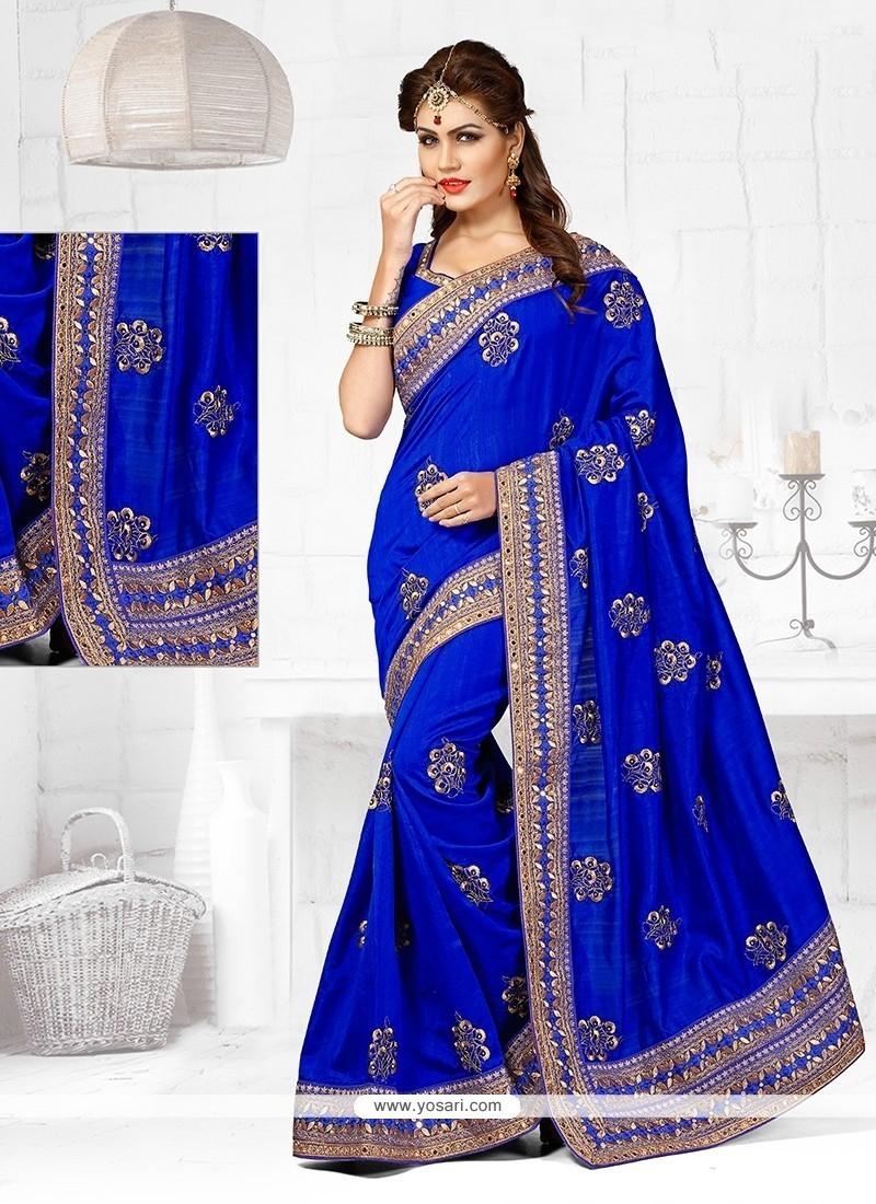 Spellbinding Bhagalpuri Silk Blue Designer Traditional Saree