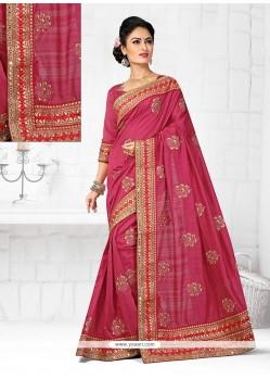 Renowned Rose Pink Designer Traditional Saree