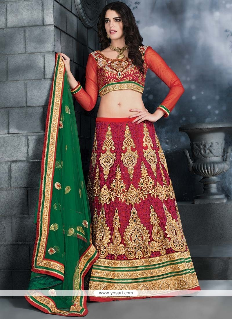 Beauteous Red Net Lehenga Choli