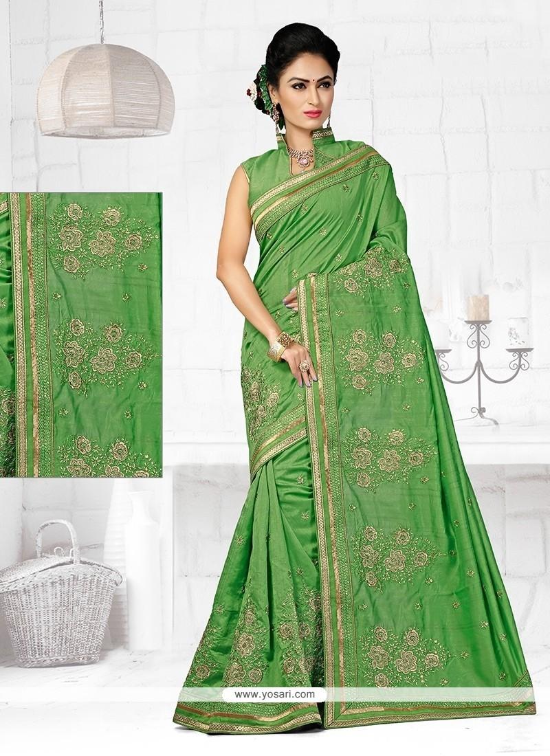 Affectionate Bhagalpuri Silk Green Designer Traditional Saree