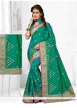 Embroidered Art Silk Designer Traditional Saree In Sea Green