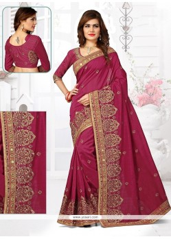 Sensible Magenta Resham Work Bhagalpuri Silk Designer Traditional Saree