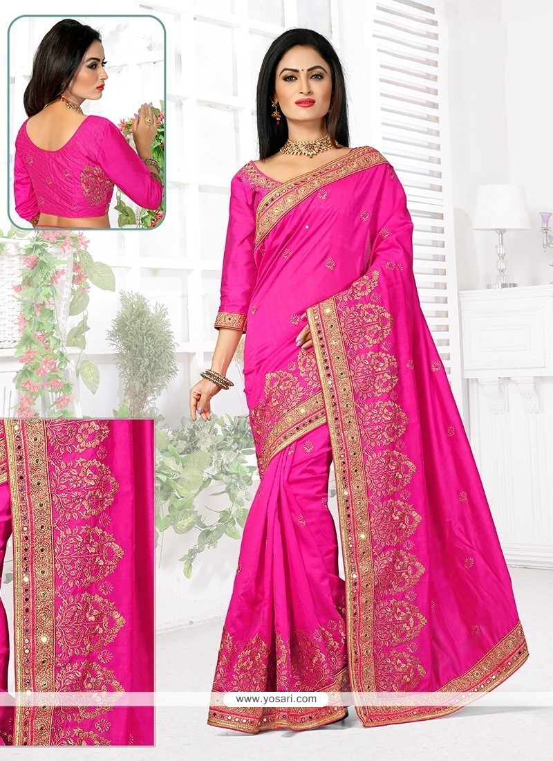 Beauteous Hot Pink Bhagalpuri Silk Designer Traditional Saree
